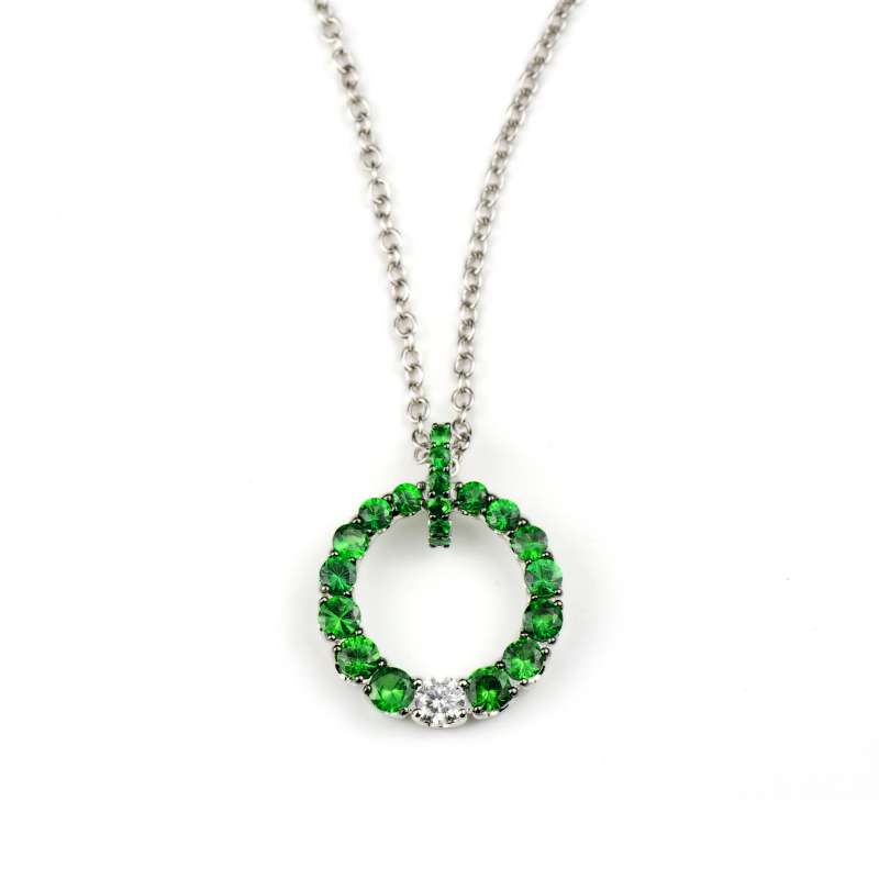 18k White Gold Green Tzavorite & Diamond Circle Pendant